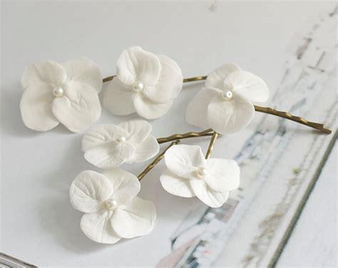 white orchid clip flower hair pin flower hair hydrangea hair white hydrangea flowers bridal hair accessories wedding hair