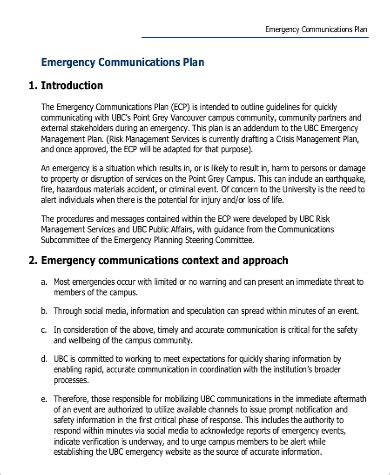 Emergency Communication Plan Template communication plan exle 9 sles in word pdf