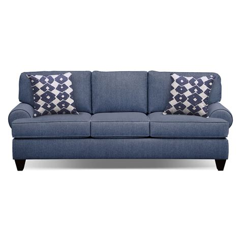 bailey blue 91 quot innerspring sleeper sofa value city