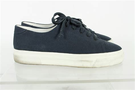 low top athletic shoes chanel navy blue lace low top athletic sneakers size 40 ebay
