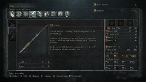 on spear bloodborne weapons rifle spear location and stats guide