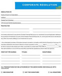 corporate template corporate resolution form 7 free word pdf documents