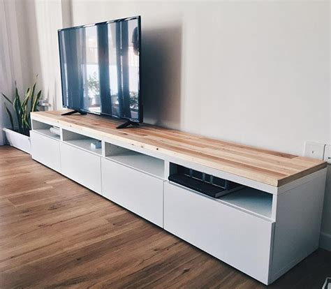 ikea console cabinet ikea besta tv console hack using reclaimed pallet wood