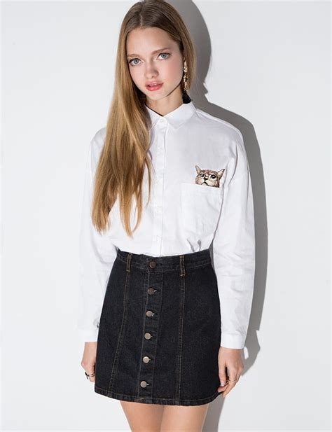 A Line Mini Denim Skirt black denim button a line mini skirt