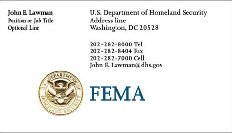 Dhs Business Card Template by Cobra Printing Productions Fema Business Cards