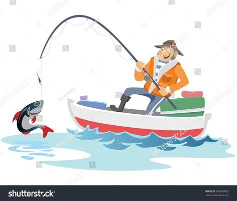 cartoon jon boat flat fisherman hat sits on boat stock vector 695660095