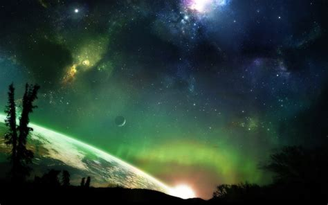 cosmos sci fi earth atmosphere moon plantets star sunlight green outer space horizon trees stars planets earth