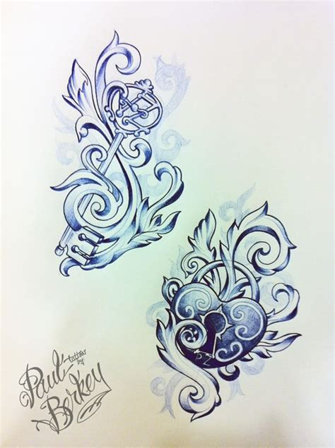 tribal key tattoo sketch of his and key and lock tattoos