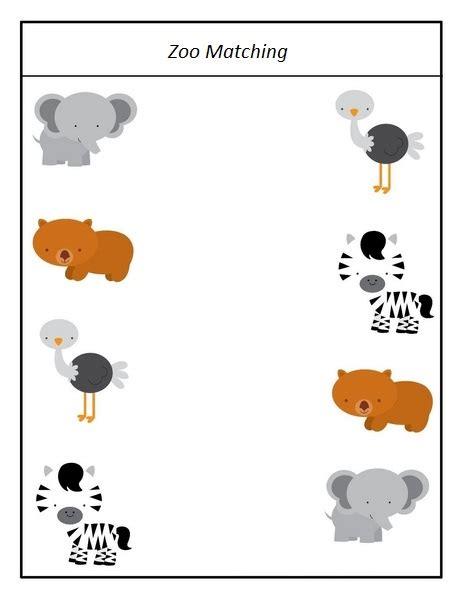 zoo matching  preschoolers funnycrafts