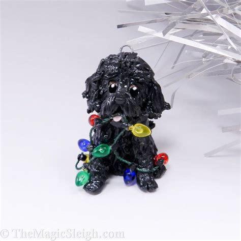 cockapoo ornament black christmas lights porcelain