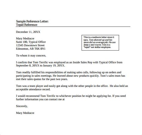 sample reference letter templates ms word