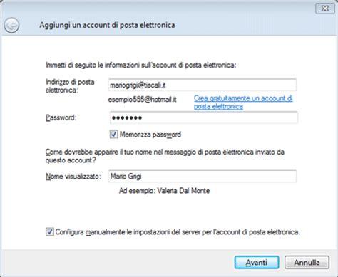 porta smtp tiscali tiscali assistenza configurazione posta live mail