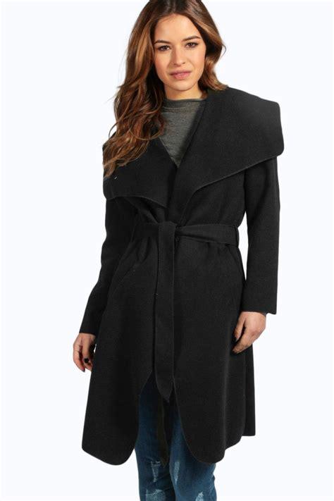 Shawl Collar Coat boohoo womens sinead belted shawl collar coat ebay