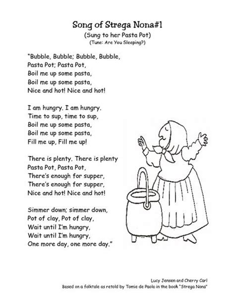 strega nona s magic lessons a strega nona book books strega nona retell song lyrics worksheet lesson planet