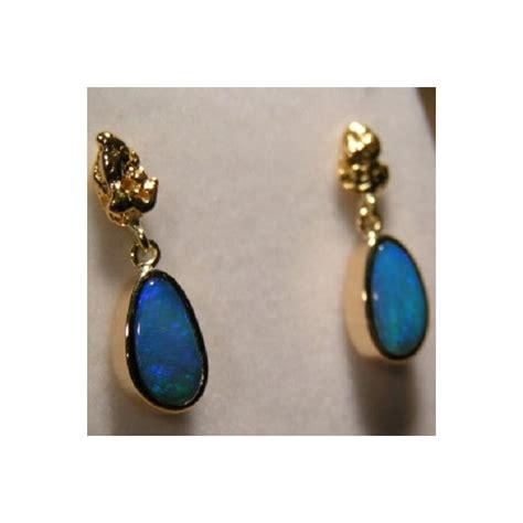 blue opal earrings blue opal earrings gold nugget 18k artisan opal earrings
