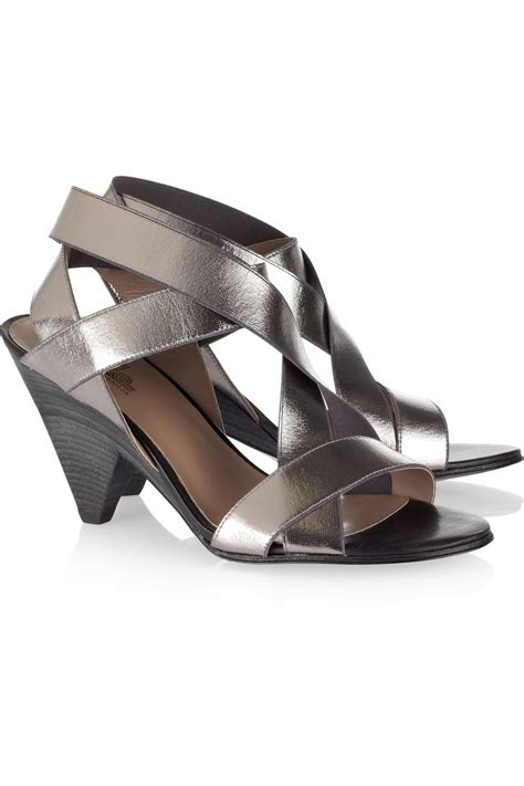 sigerson morrison sandals by sigerson morrison metallic elasticated strappy