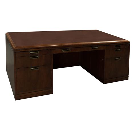 desk with credenza jofco used veneer pedestal desk with credenza