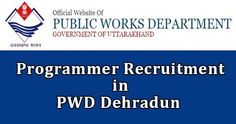 Government In Uttarakhand For Mba by Pwd Dehradun Recruitment 2016 Post Programmer Www Pwd
