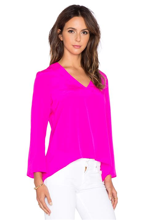 light pink sleeve top lyst amanda uprichard sleeve top pink
