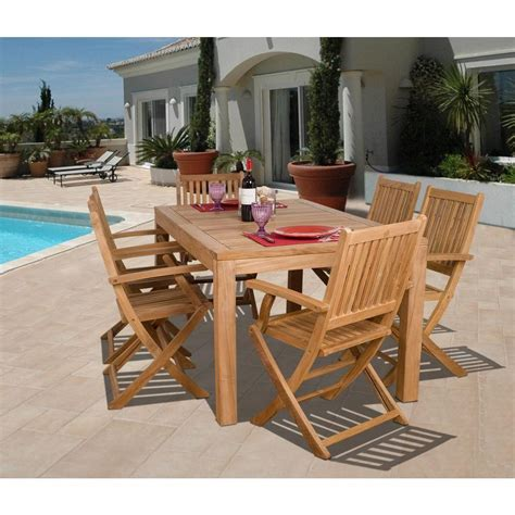 hton bay budapest 7 piece teak patio dining set sc