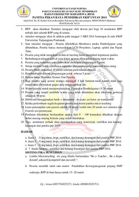 surat undangan ketentuan serta formulir pendaftaran lomba micro teach