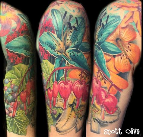 color realism flowers by scott olive tattoos