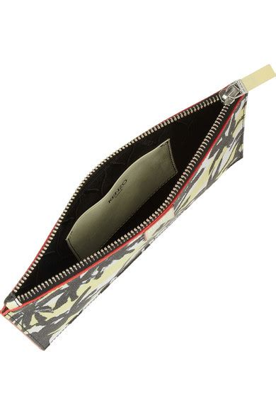 Print Faux Leather Pouch kenzo palm tree print faux textured leather pouch net
