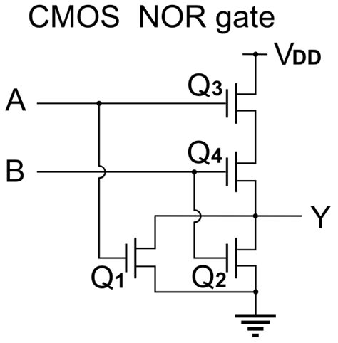 cmos transistor or gate created a sensor using only a nor integrated circuit led button