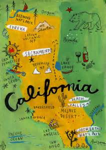 california map printable california map print poster handmade illustration by chengel