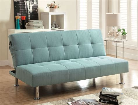 converts to bed dewey blue flax fabric sofa futon converts into bed w