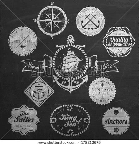 set of vintage nautical sea labels with retro typography set vintage retro nautical badges labels stock vector