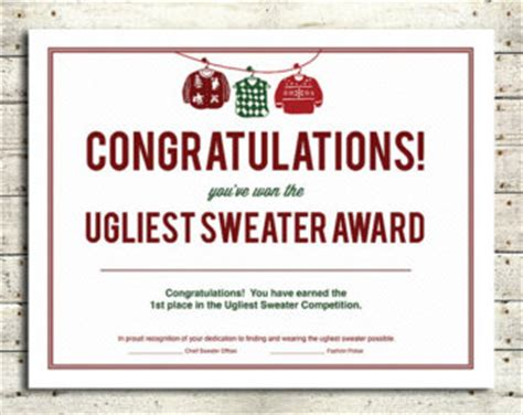 ugly christmas sweater award certificate template