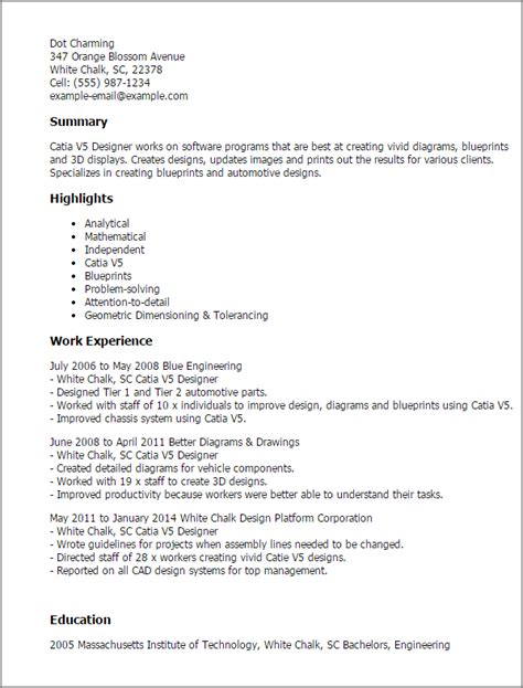 Examples Of Professional Summary For Resumes by Professional Catia V5 Designer Templates To Showcase Your