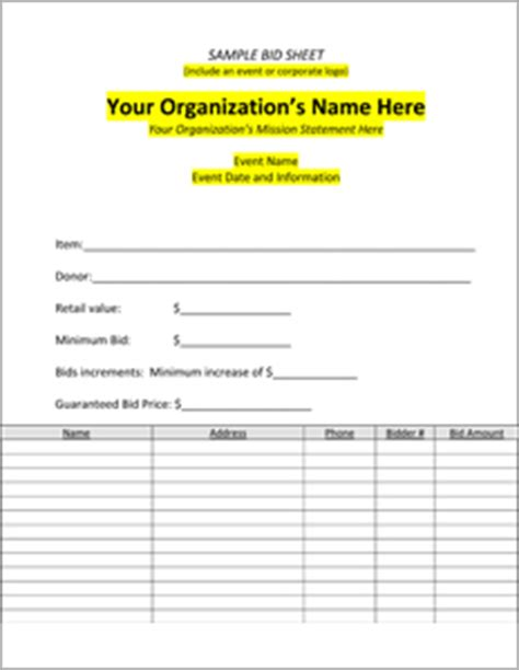 silent auction template free free blank silent auction bid sheets
