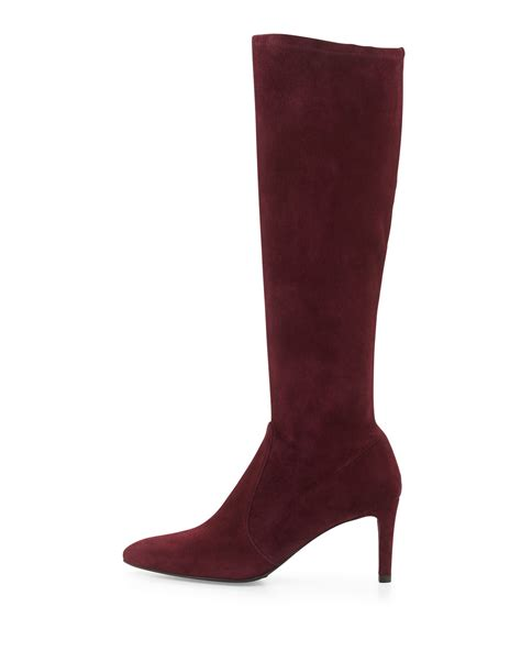 stuart weitzman coolboot stretch suede boot bordeaux made