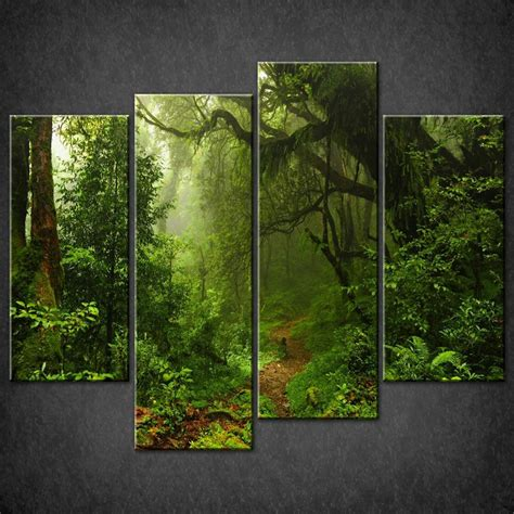 Tropical Home Decor Ideas by Path In Forest Split Canvas Wall Art Pictures Prints