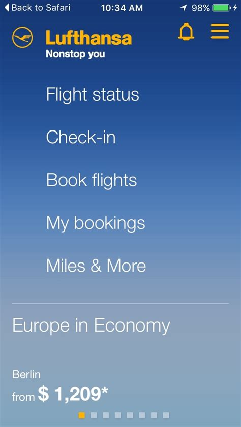 mobile lufthansa check in airline mobile apps