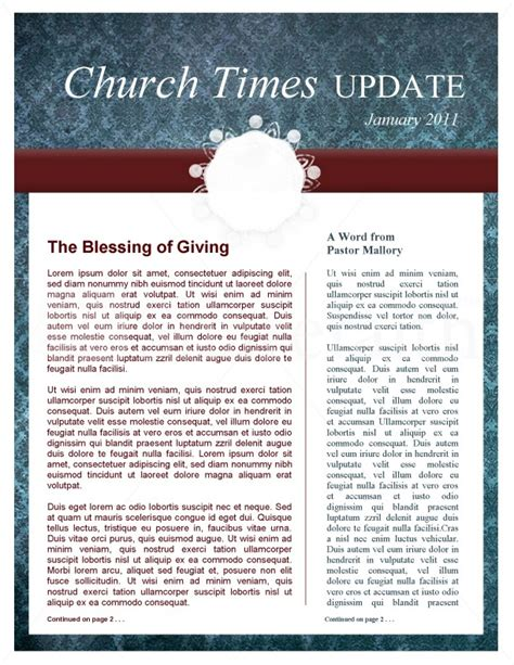 circle pattern church newsletter template template