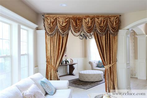 swags curtains style gold velvet pleated austrian style swag valance draperies