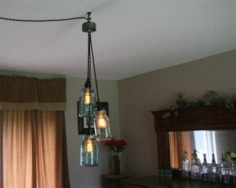 swag dining room light turning jars into light fixtures