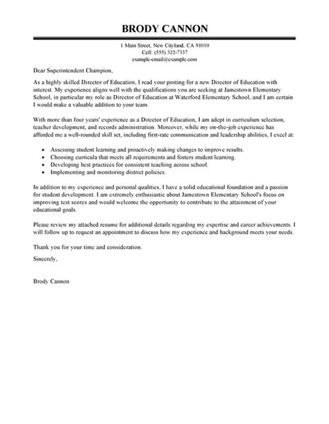 Exles Of Education Cover Letters by Director Cover Letter Exles Education Cover Letter Sles Livecareer