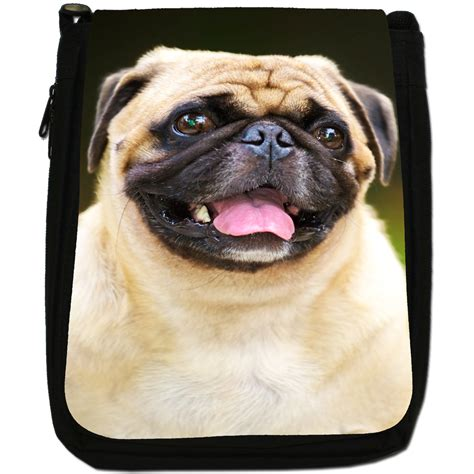 pug tongue sticking out happy pug with tongue sticking out black canvas shoulder bag ebay