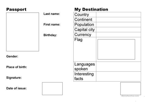 make your own passport template 9 free esl passport worksheets
