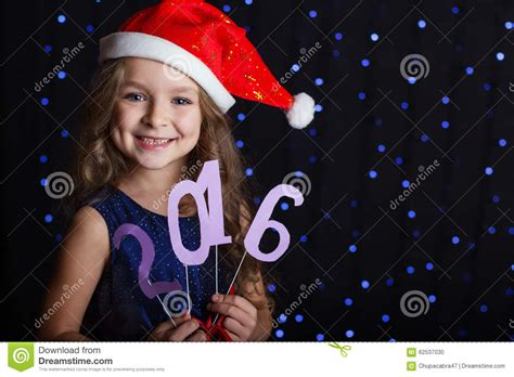 wearing on new year santa with new year date 2016 stock photo image