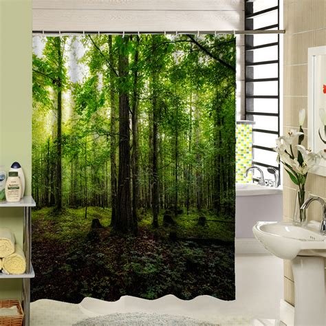 forest green shower curtain 3d shower curtains forest green bambootree waterproof