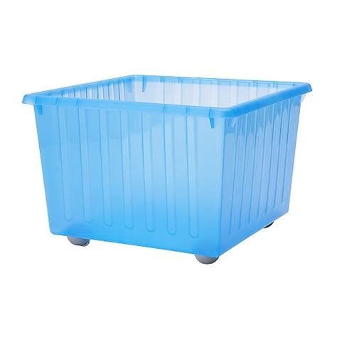 ikea storage bins vessla storage crate with casters blue ikea