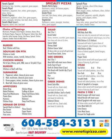 section 8 opening hours venetis pizza menu hours prices 9591 128 st surrey bc