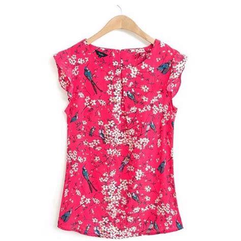 43073 Blue Flower Blouse st1558 new fashion floral print blue ruffles blouses o neck sleeveless shirt
