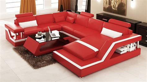 modern red leather sectional divani casa 6139 modern red and white leather sectional sofa