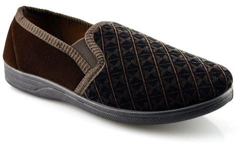mens slippers size 16 mens new boxed slip on velour gusset slippers shoes